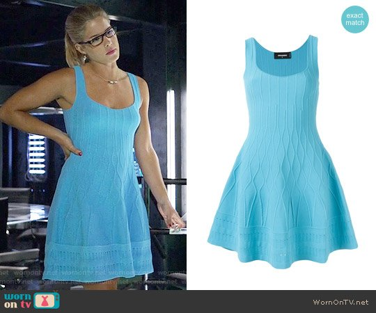DSquared2 Flared Sleeveless Dress worn by Emily Bett Rickards on Arrow
