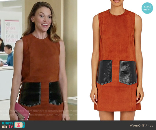 Edun Suede Shift Dress worn by Sutton Foster on Younger