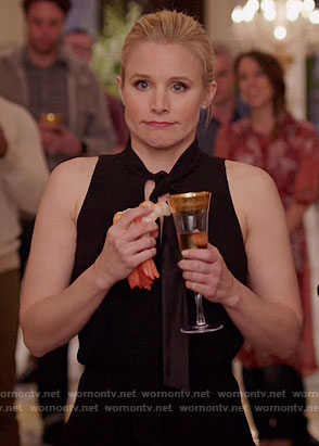 Eleanor's black tie neck dress on The Good Place