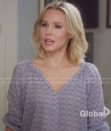 Eleanor's blue printed blouse on The Good Place