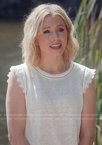 Eleanor's white eyelet trim top on The Good Place
