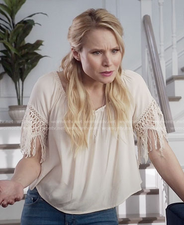 Eleanor's fringed crochet sleeve top on The Good Place