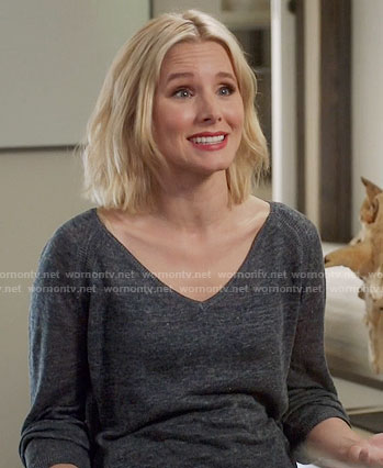 Eleanor's grey v-neck sweater on The Good Place