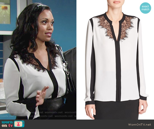 Elie Tahari Denise Blouse worn by Mishael Morgan on The Young & the Restless
