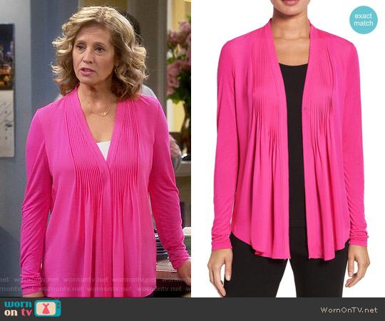 Elie Tahari 'Willow' Knit Sleeve Silk Blouse worn by Nancy Travis on Last Man Standing