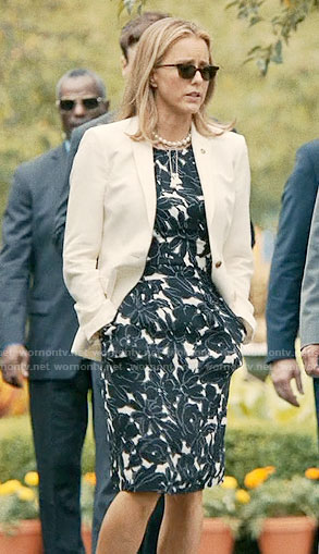 Elizabeth's black and white floral dress on Madam Secretary