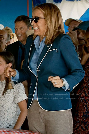 Elizabeth's blue blazer with white piping on Madam Secretary