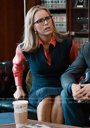 Elizabeth's pinstriped dress on Madam Secretary