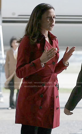 Emily's red trench coat on Designated Survivor