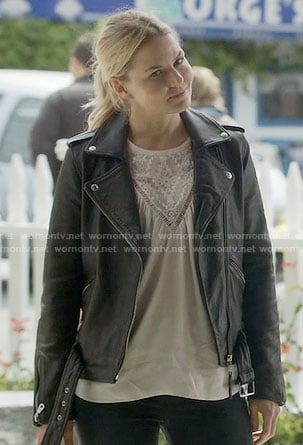 Emma's embroidered top and leather moto jacket on Once Upon a Time