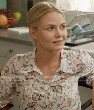 Emma's floral print button down shirt on Once Upon a Time