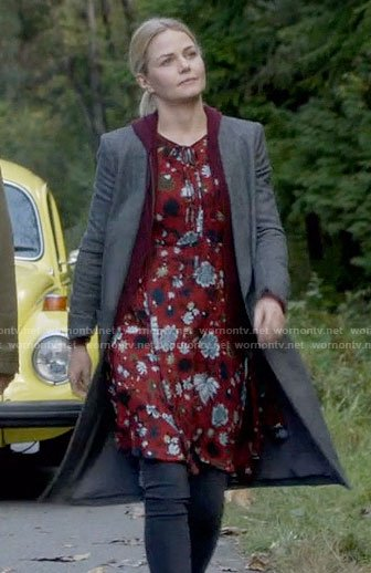 Emma's red floral dress and grey coat on Once Upon a Time