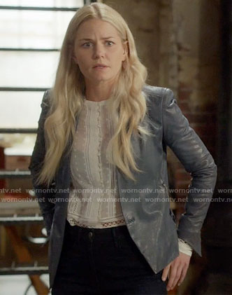 Emma's white embroidered top and blue leather jacket on Once Upon a Time
