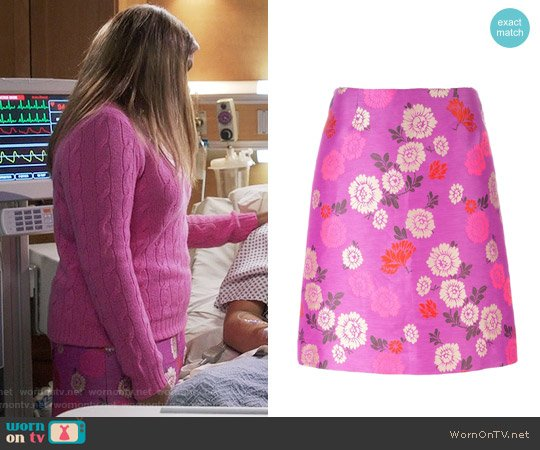 Etro Floral Print A-Line Skirt worn by Mindy Lahiri on The Mindy Project