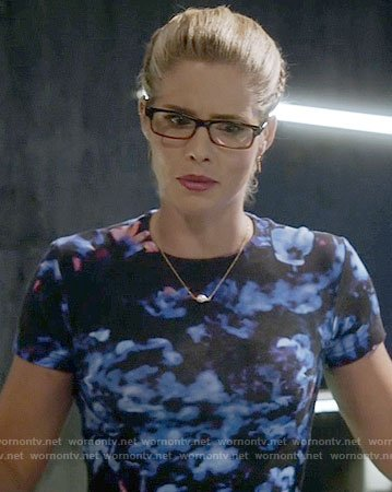 Felicity's black and blue printed dress on The Flash