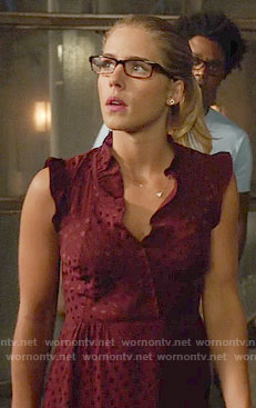 Felicity's burgundy polka dot dress with ruffles on Arrow