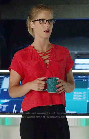 Felicity's red lace-up top on Arrow