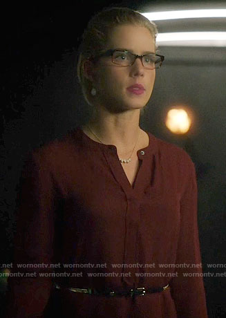 Felicity's burgundy dress on Arrow