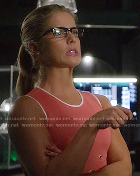 Felicity's pink grommet detail dress on Arrow