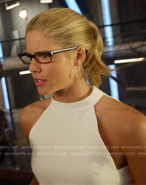 Felicity's white tie back top on Arrow