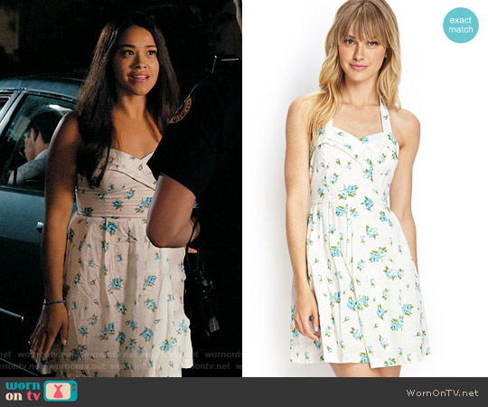 Forever 21 Floral Print Halter Dress worn by Gina Rodriguez on Jane the Virgin