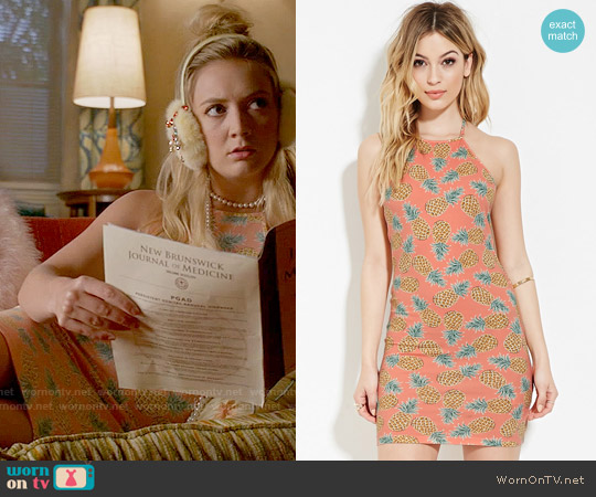 Forever 21 Pineapple Print Halter Dress worn by Billie Lourd on Scream Queens