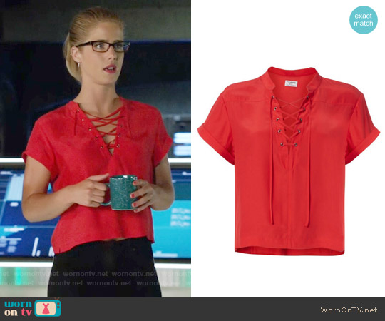 Frame Lace-Up Neckline Blouse worn by Emily Bett Rickards on Arrow