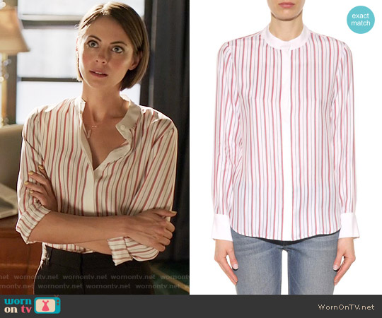 Frame Le Classic silk shirt worn by Willa Holland on Arrow