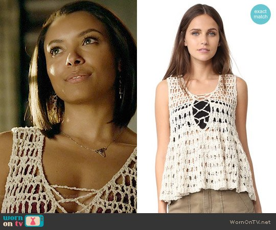 Free People Circles Within Circles Sweater Tank worn by Bonnie Bennett on The Vampire Diaries