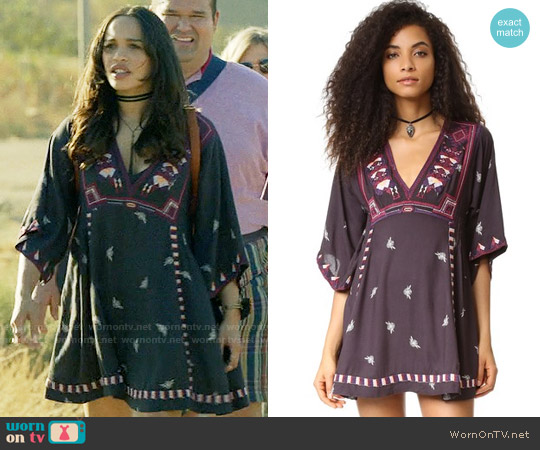 Free People Embroidered Tulum Mini Dress worn by Cleopatra Coleman on Last Man On Earth