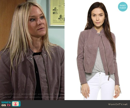 Free People Clean & Minimal Jacket in Dusk worn by Sharon Case on The Young & the Restless