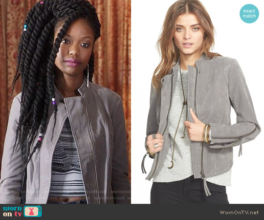 Free People Faux Leather Jacket worn by Xosha Roquemore on The Mindy Project