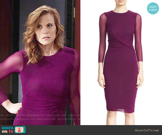 Fuzzi Sheer Sleeve Tulle Sheath Dress worn by Gina Tognoni on The Young & the Restless