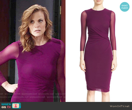 Fuzzi Sheer Sleeve Tulle Sheath Dress worn by Phyllis Newman (Gina Tognoni) on The Young & the Restless