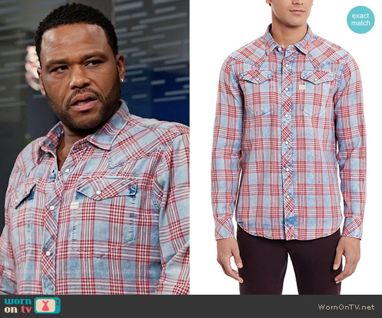 G Star RAW Tacoma Shirt in Indigo Sodo Flannel Check worn by Andre Johnson (Anthony Anderson) on Blackish