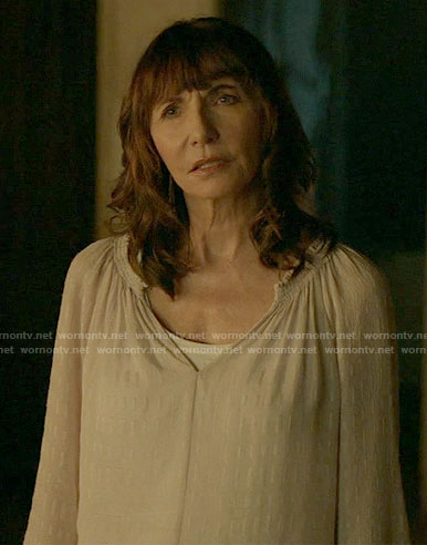 Gail's white embroidered blouse on Last Man on Earth