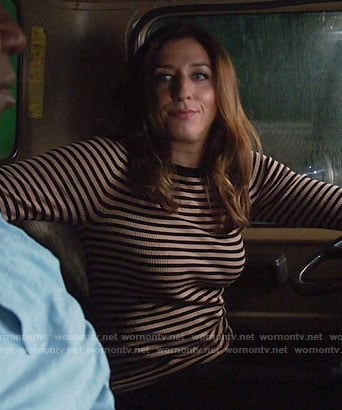 Gina's nude and black striped sweater on Brooklyn Nine-Nine