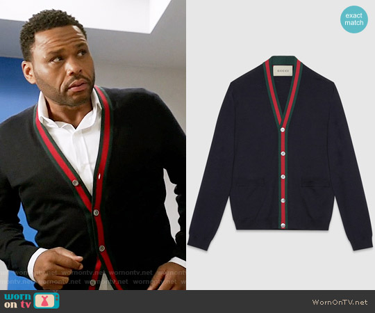 Gucci Wool cardigan with Web worn by Anthony Anderson on Blackish