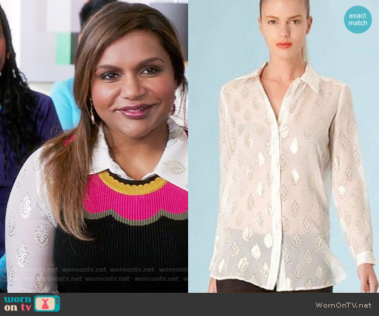 Hale Bob Silk Jacquard Top worn by Mindy Lahiri (Mindy Kaling) on The Mindy Project