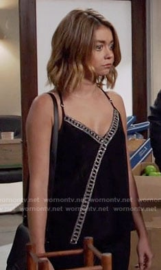 Haley's black embellished cross front top on Modern Family