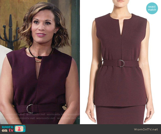 Halogen Belted Sleeveless Split Neck Top worn by Melissa Claire Egan on The Young & the Restless