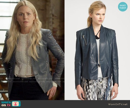 Helmut Lang Blue leather biker jacket worn by Emma Swan on OUAT