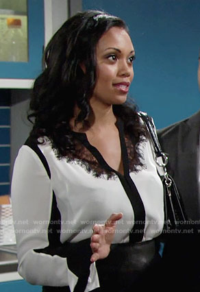 Hilary's black and white lace blouse on The Young and the Restless