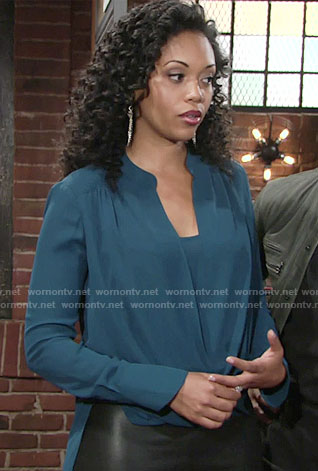 Hilary's teal wrap blouse on The Young and the Restless