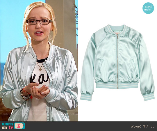 H&M Satin Bomber Jacket in Mint Green worn by Dove Cameron on Liv & Maddie