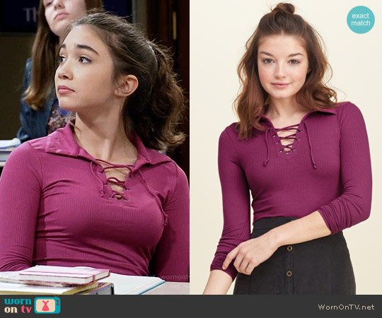 Hollister Lace Up Ribbed Polo worn by Rowan Blanchard on Girl Meets World