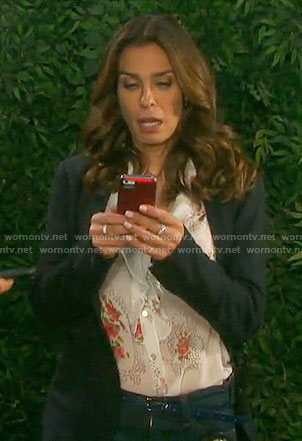 Hope's floral ruffled front blouse on Days of our Lives