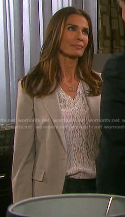 Hope's white diamond print blouse on Days of our Lives