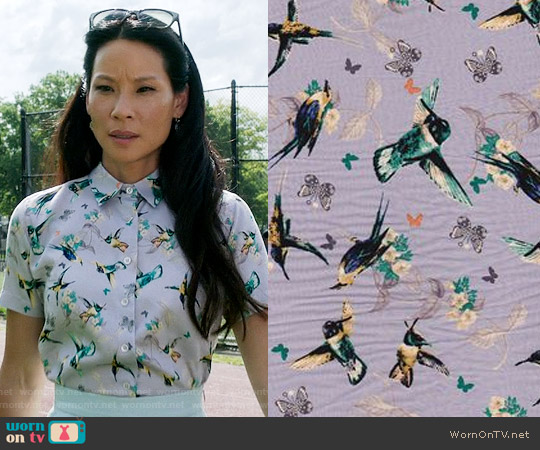 Custom Made Hummingbird Shirt worn by Lucy Liu on Elementary