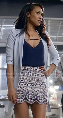 Iris's bead embellished skirt and blue blazer on The Flash